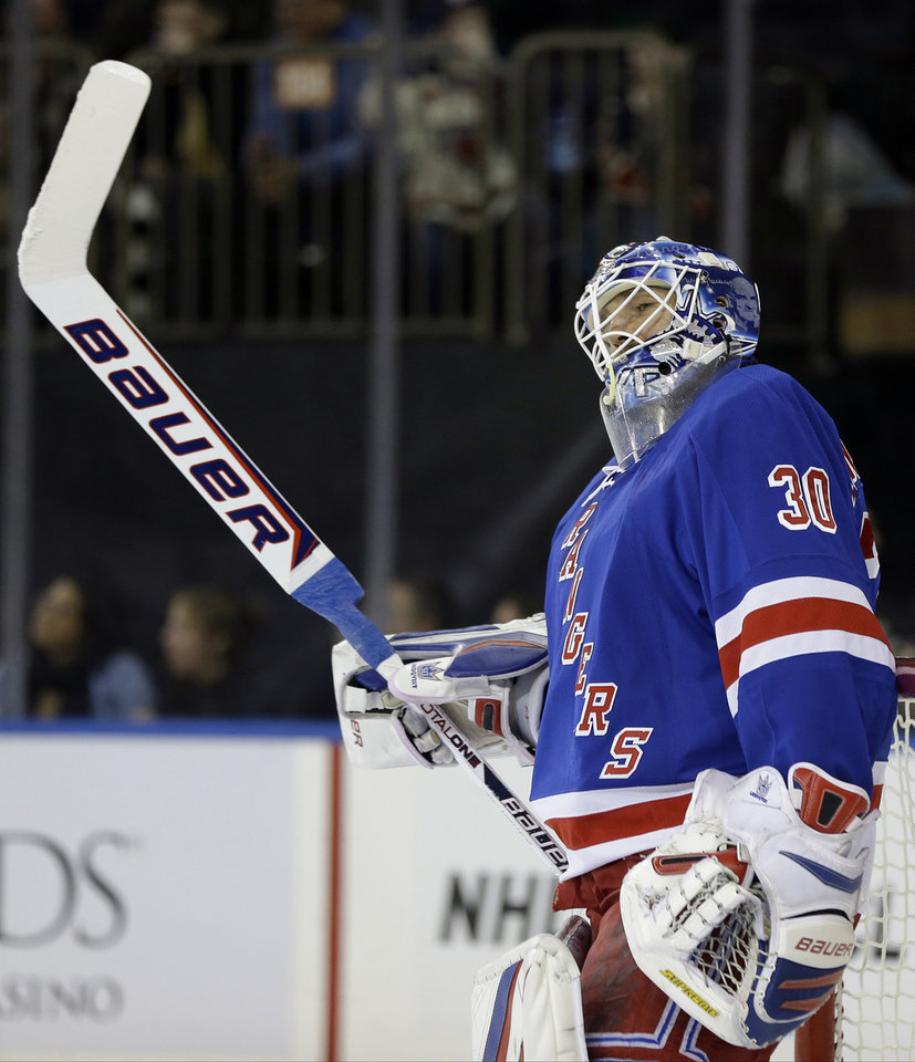 New York Rangers goalie Henrik Lundqvist (30), of Sweden, reacts after Florida Panthers' Brian Campbell scored a goal during the first period of an NHL hockey game Thursday, March 21, 2013, in New York. (AP Photo/Frank Franklin II)