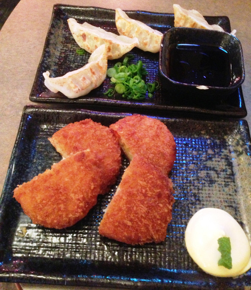 Gyoza, top, and Croquettes are among the appetizers at Main Street Noodle in Stillwater. <strong>DAVE CATHEY - THE OKLAHOMAN</strong>