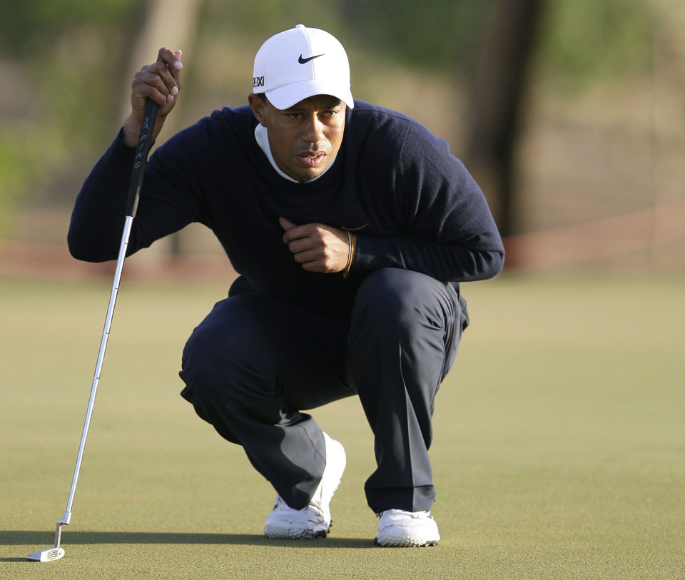 Tiger Woods from U.S. lines up his ball on the 13th hole during the first round of Abu Dhabi Golf Championship in Abu Dhabi, United Arab Emirates, Thursday, Jan. 17, 2013. (AP Photo/Kamran Jebreili)