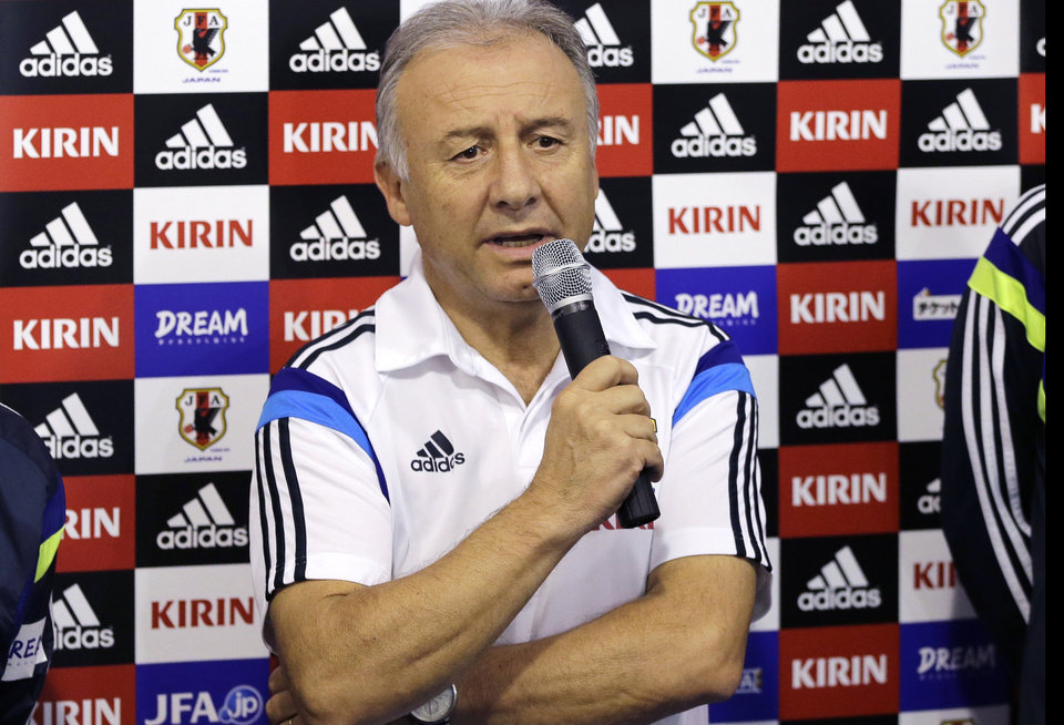 Photo - Japan soccer team coach Alberto Zaccheroni speaks to the media regarding the cancelation of the training session of Japan in Itu, Brazil, Saturday, June 21, 2014.  Japan play in group C of the 2014 soccer World Cup. (AP Photo/Shuji Kajiyama)