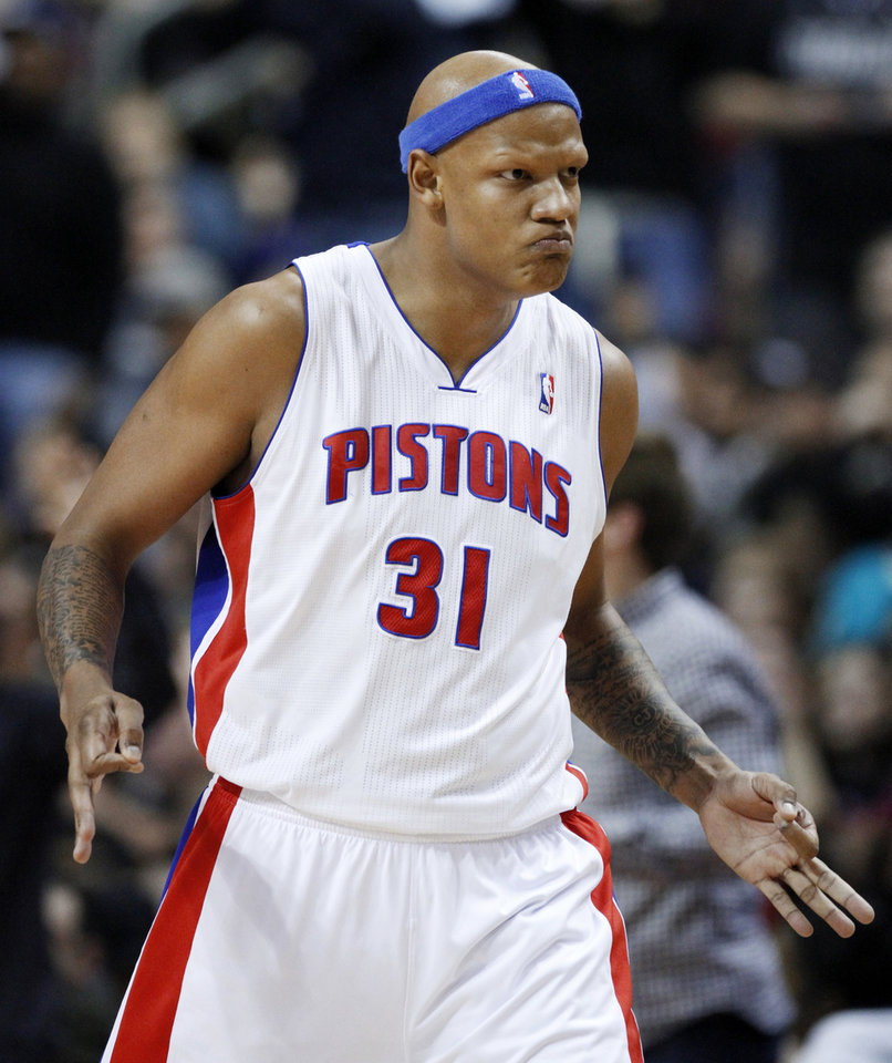 Detroit Pistons forward Charlie Villanueva reacts after sinking one of his three 3-point baskets against the Miami Heat in the first half of an NBA basketball game Friday, Dec. 28, 2012, in Auburn Hills, Mich. (AP Photo/Duane Burleson)