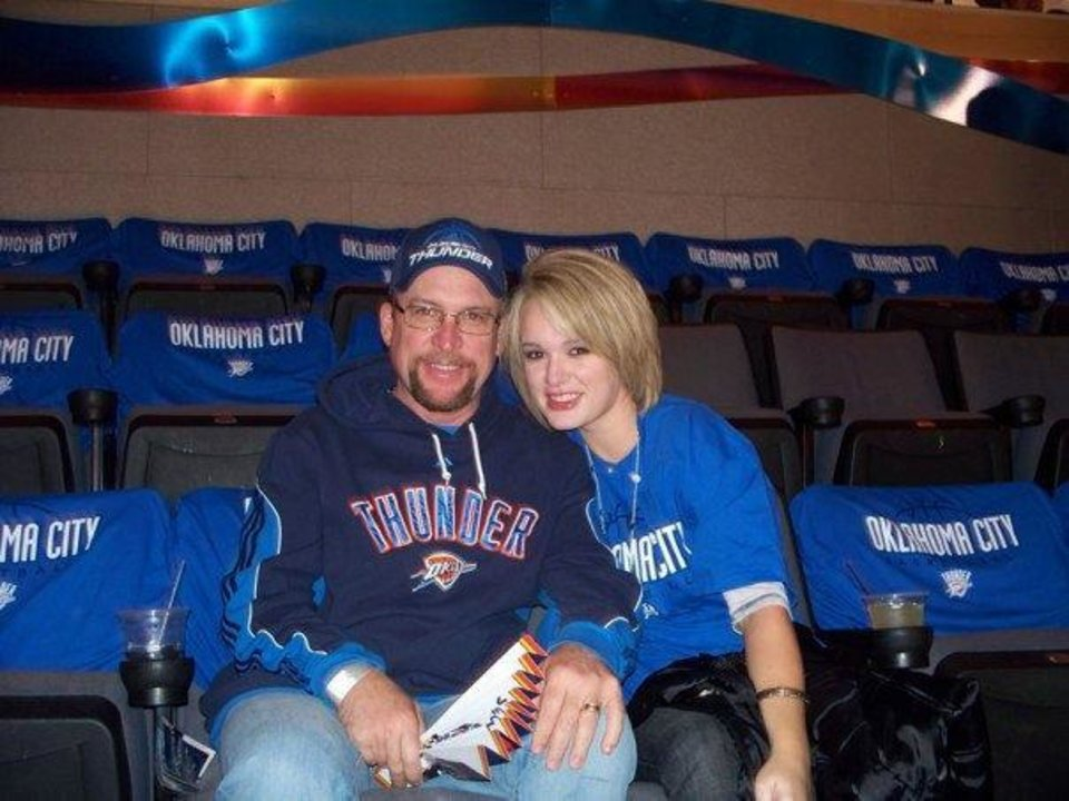 Photo - Danny Robbins attended a 2012 NBA playoff with daughter Rachael Bailey.  Provided
