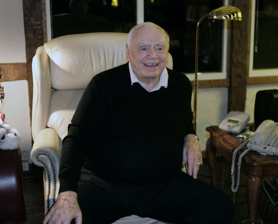 Photo - Actor Ernest Borgnine watches the Golden Globe announcements Sunday, Jan. 13, 2008, in Beverly Hills, Calif. Borgnine was eligible for Golden Globe's best performance by an actor in a mini-series or motion picture made for television but did not win. (AP Photo/Ric Francis) ORG XMIT: CARF104