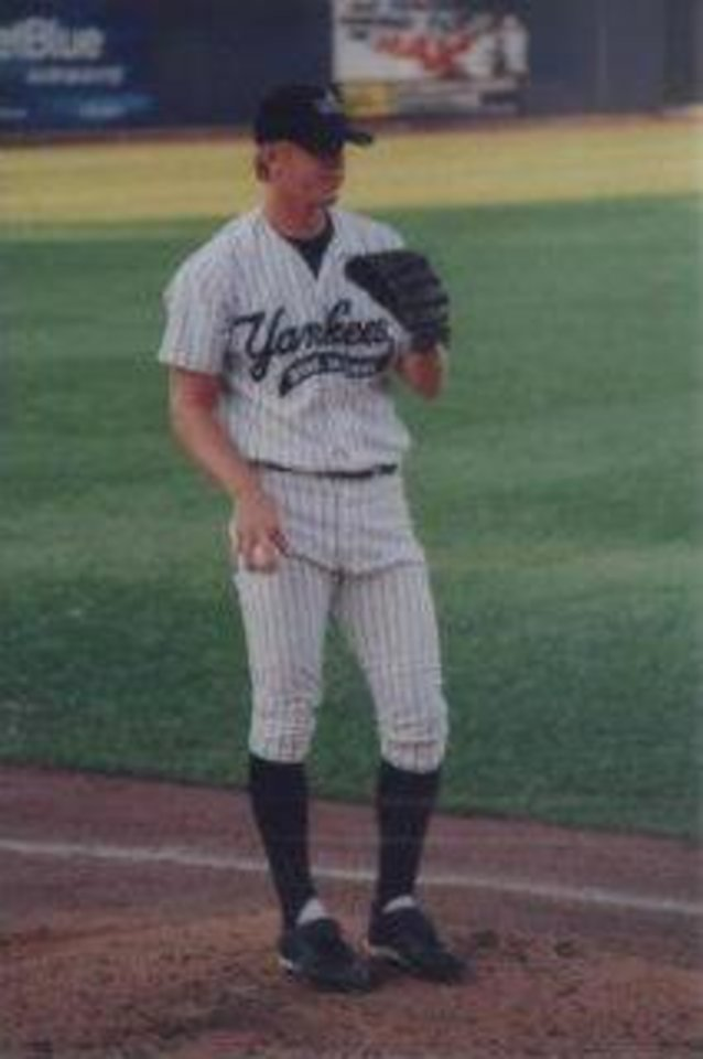 Photo - Brandon Weeden on the mound in a minor league baseball game. PHOTO PROVIDED
