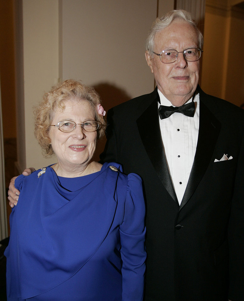 Photo - Former Oklahoma State Rep. George Camp poses with Ellen Wheeler as they attend the Oklahoma Centennial Statehood Inaugural Ball, Saturday, Nov. 17, 2007, at the Guthrie Scottish Rite Masonic Center, in Guthrie, Okla. By Bill Waugh, The Oklahoman