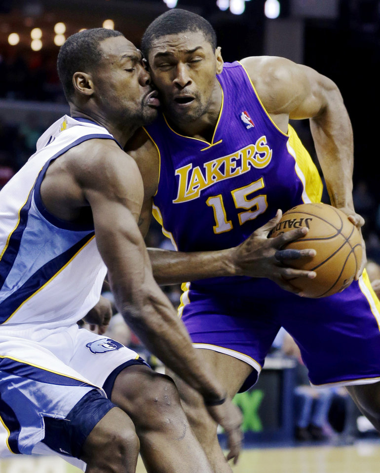 Los Angeles Lakers' Metta World Peace (15) is fouled by Memphis Grizzlies' Tony Allen during the first half of an NBA basketball game in Memphis, Tenn., Wednesday, Jan. 23, 2013. (AP Photo/Daniel Johnston)