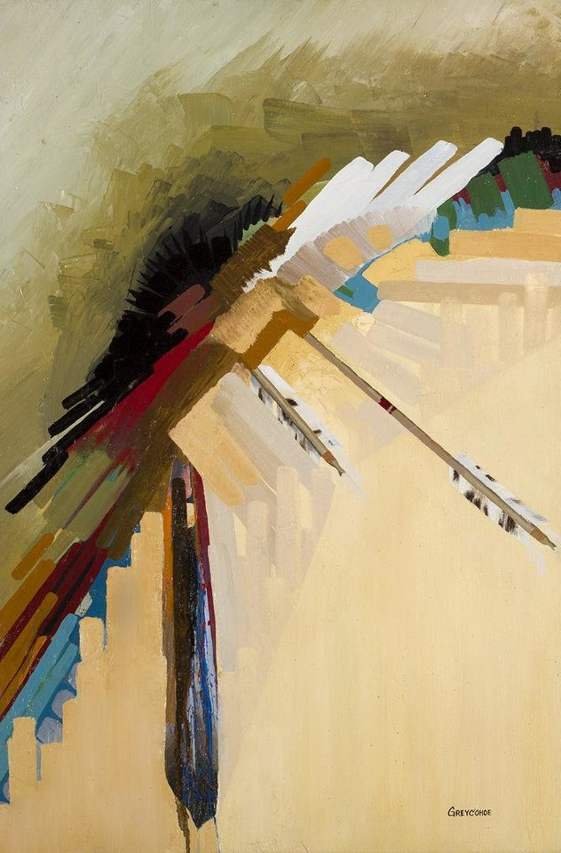 The art to be discussed Thursday at the Fred Jones Jr. Museum of Art  included this painting by Navajo artist Grey Cohoe, titled �The Kill.�  Photo provided