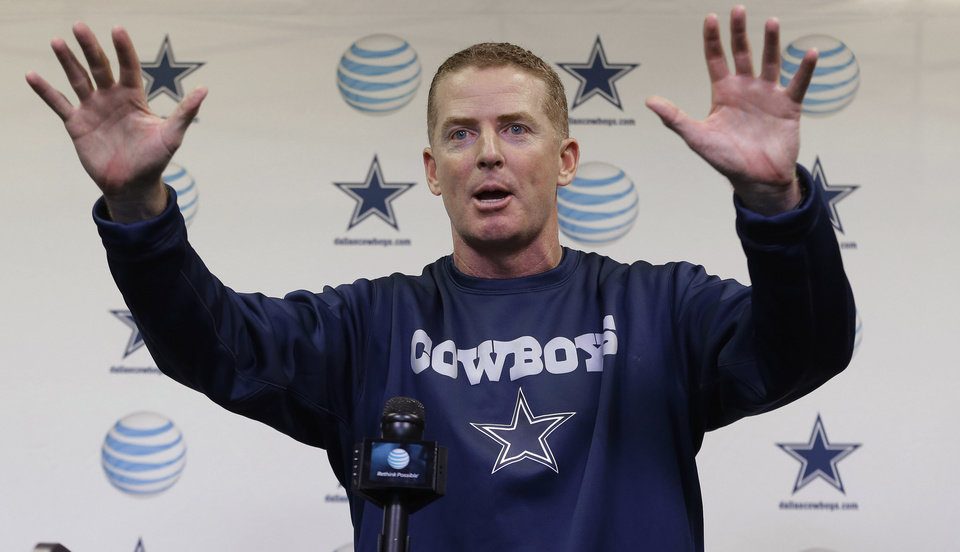 Dallas Cowboys coach Jason Garrett speaks to reporters during a media availability at the NFL football team's facility Wednesday, Feb. 13, 2013, in Irving, Texas. (AP Photo/LM Otero)