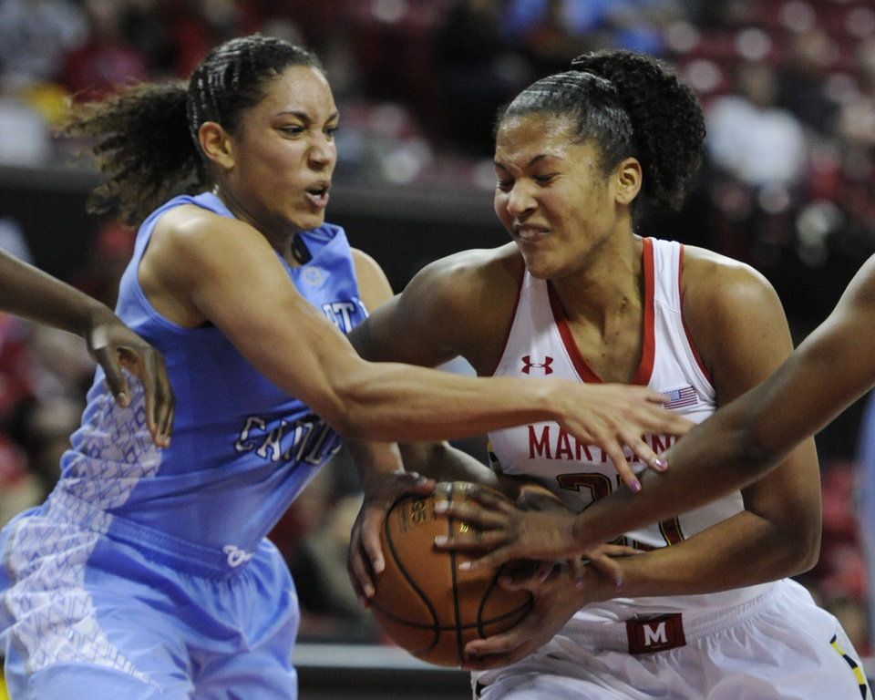 Maryland's Alyssa Thomas, right, drives to the basket as North Carolina's Krista Gross defends during the second half of an NCAA college basketball game on Thursday, Jan. 24, 2013, in College Park, Md. Maryland won 85-59. (AP Photo/Gail Burton).