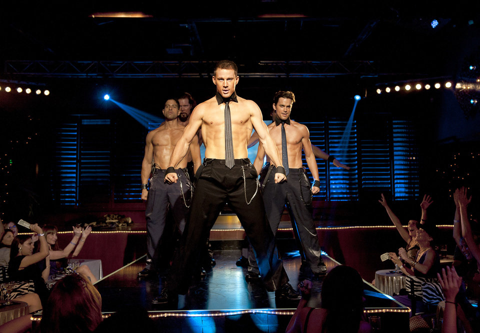 "Photo -  FILE - This file photo released by Warner Bros. shows, from left, Adam Rodriguez, Kevin Nash, Channing Tatum, and Matt Bomer in a scene from ""Magic Mike."" Matthew McConaughey, Channing Tatum, Alex Pettyfer, Joe Manganiello and Matt Bomer play firemen, cops and other exaggerated versions of hyper-masculine characters in the Steven Soderbergh film, and they say preparing for their parts and performing nearly nude for the dozens of female extras who populated the fake Club Xquisite gave the actors insight into women's grooming, undergarments and approach to carnal fantasy. (AP Photo/Warner Bros., Claudette Barius, File) ORG XMIT: CAPH308"