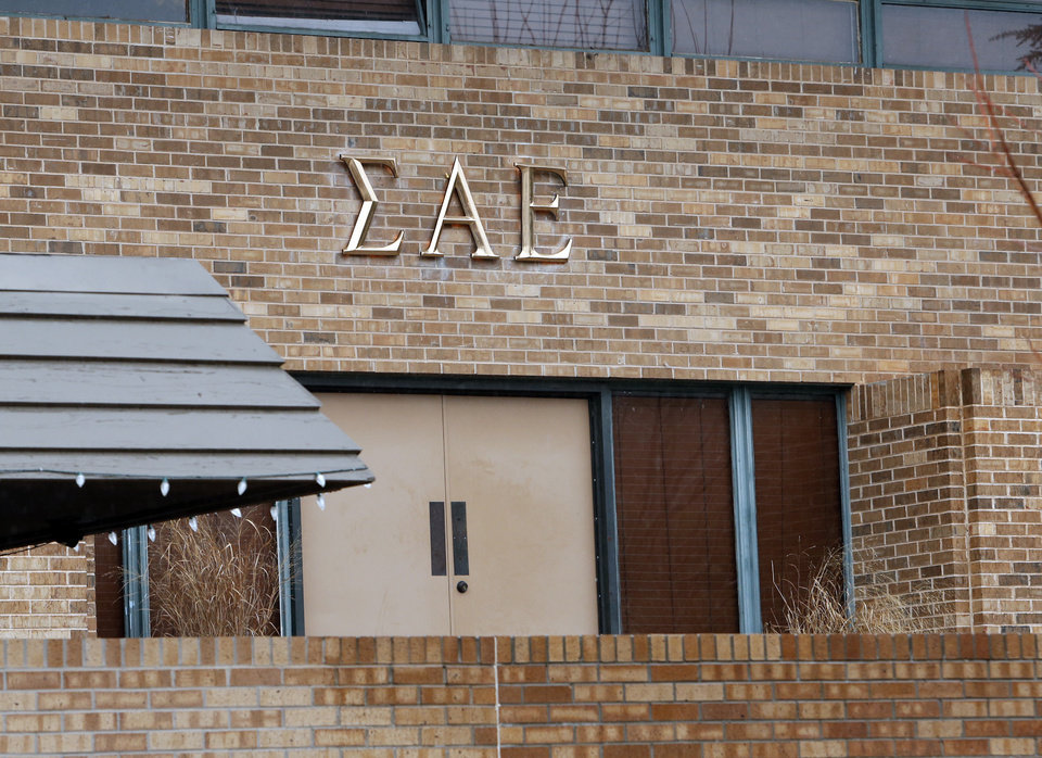 Photo - The University of Oklahoma Sigma Alpha Epsilon fraternity house is shown on March 9, 2015 in Norman, Okla.  The house was vandalized after a video showing racist comments was made public. Photo by Steve Sisney, The Oklahoman