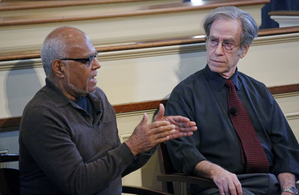 Photo - Civil rights veterans and members of the Student Non-Violent Coordinating Committee (SNCC), Bob Moses, left, and Larry Rubin discusses the implications of Freedom Summer during a national youth summit hosted by the Smithsonian's National Museum of American History, Wednesday, Feb. 5, 2014 at the Old Capitol Museum in Jackson, Miss. More than 400 students at a dozen locations in the U.S. watched the webcast in which veterans of the civil rights movement and others discussed Freedom Summer, the 1964 project that challenged segregation by pushing to register black Mississippi voters. (AP Photo/Rogelio V. Solis)