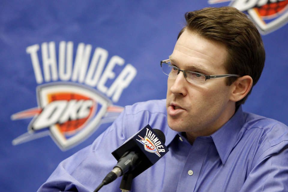 Photo - Thunder general manager Sam Presti talks about the trade for Tyson Chandler before the NBA basketball game between the New Orleans Hornets and the Oklahoma City Thunder at the Ford Center,Tuesday, Feb. 17, 2009. PHOTO BY BRYAN TERRY, THE OKLAHOMAN ORG XMIT: KOD