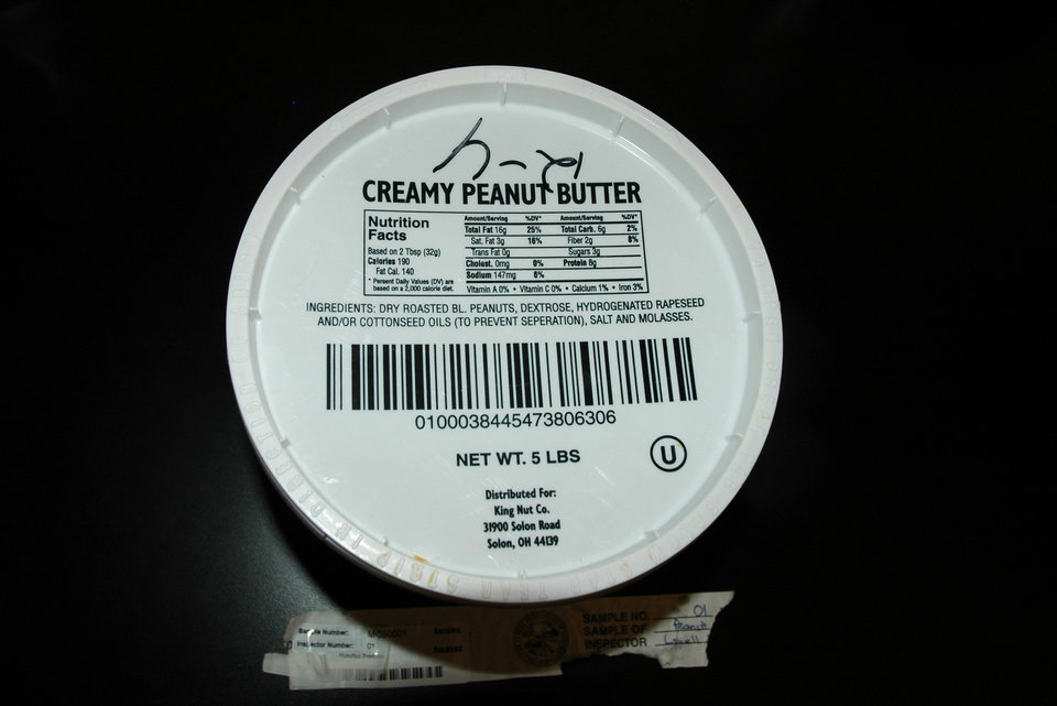 Lab tests found salmonella in this 5-pound container of King Nut  peanut butter from a Minnesota nursing home. AP Photo