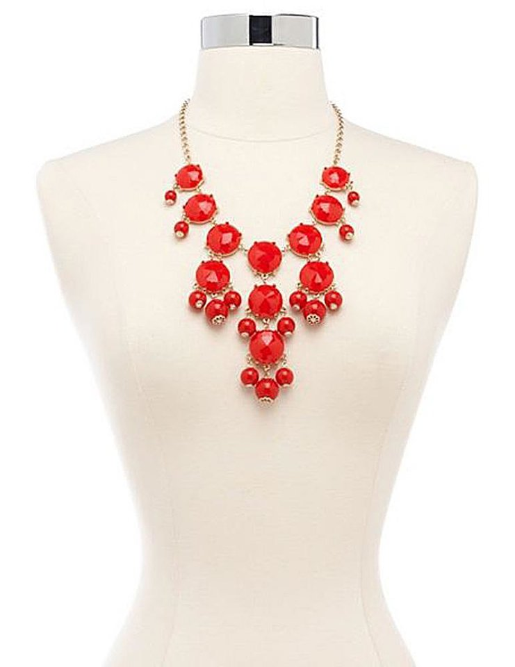 For a necklace that makes a bold statement, get the Charlotte Russe fit-for-a-queen statement necklace for $12.99. (Courtesy Charlotte Russe via Los Angeles Times/MCT)