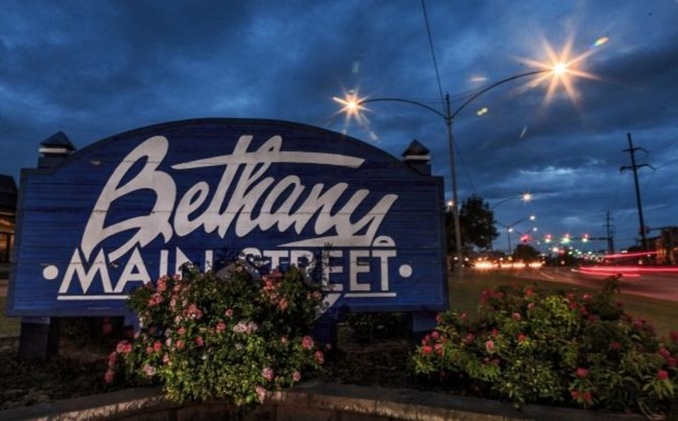 Photo -  LED lights illuminate Main Street in Bethany in 2018. Wiring supporting street and highway lighting systems across the Oklahoma City area was a popular target for thieves that year, Oklahoma Gas and Electric Co. officials say. [THE OKLAHOMAN ARCHIVES]