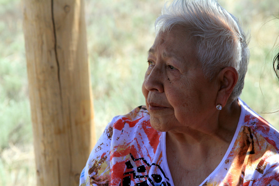 "Photo - Henrietta ""Henri"" Mann, of Weatherford, takes time to reflect during a recent United Methodist-hosted pilgrimage to the site of the Sand Creek Massacre in Eads, Colo.  Photo by Ginny Underwood"