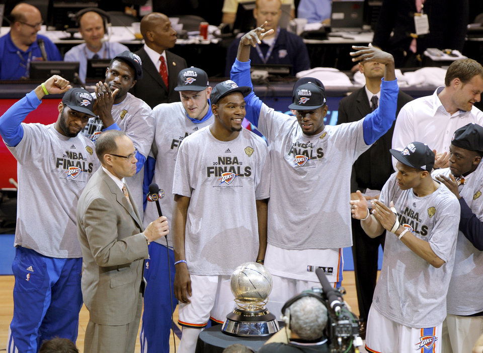 /Members of the Oklahoma City Thunder including Kevin Durant celebrate after Game 6 of the Western Conference Finals between the Oklahoma City Thunder and the San Antonio Spurs in the NBA playoffs at the Chesapeake Energy Arena in Oklahoma City, Wednesday, June 6, 2012. Oklahoma City won 107-99. Photo by Bryan Terry, The Oklahoman