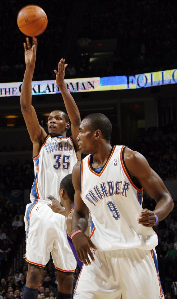 Oklahoma City's Kevin Durant (35) takes a shot next to teammate Serge Ibaka (9) and Ron Artest (37) of Los Angeles during the NBA basketball game between the Los Angeles Lakers and the Oklahoma City Thunder at the Ford Center in Oklahoma City, Friday, March 26, 2010. Photo by Nate Billings, The Oklahoman