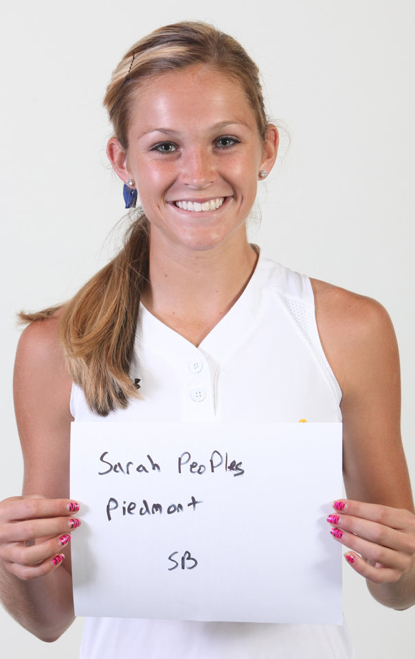 Photo - Mug Shot of  Sarah Peoples, a softball player from Piedmont High School. Photographed at OPUBCO in Oklahoma City on Wednesday, August 19, 2009. By John Clanton, The Oklahoman ORG XMIT: KOD