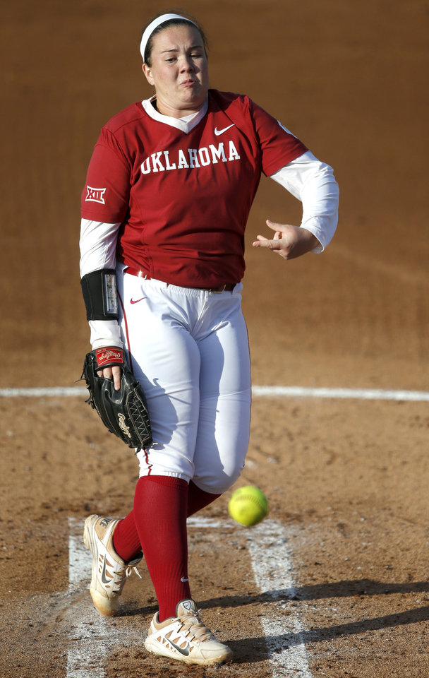 Photo -  Oklahoma's Paige Parker (8) pitches during the bedlam softball game between OSU AND OU in Stillwater on Wednesday. [PHOTO BY BRYAN TERRY, THE OKLAHOMAN]