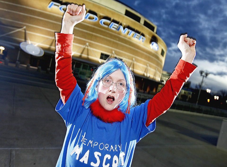 Angela Love's 'Temporary Mascot' outfit quickly became permanent. PHOTO BY BRYAN TERRY, THE OKLAHOMAN