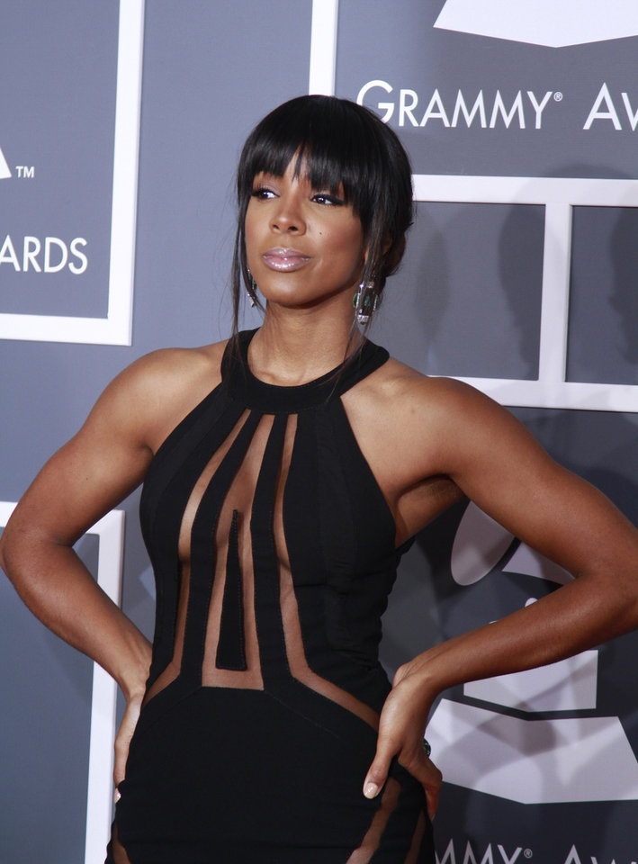 Kelly Rowland arrives for the 55th Annual Grammy Awards at Staples Center in Los Angeles, California, on Sunday, February 10, 2013. (Kirk McKoy/Los Angeles Times/MCT)