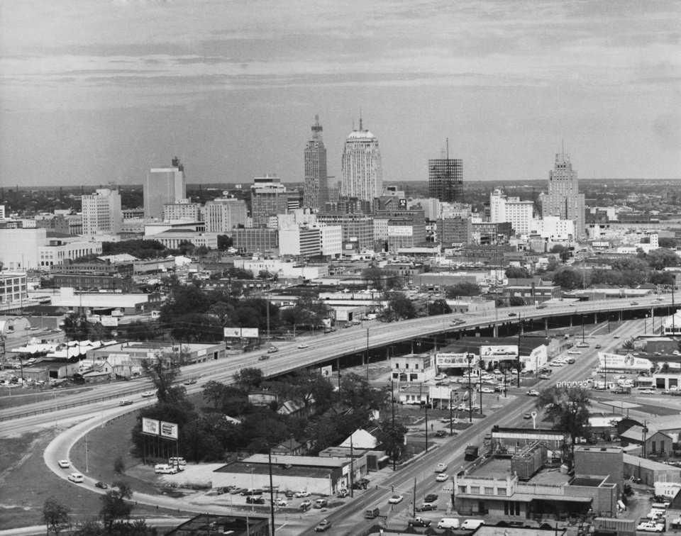 OKLAHOMA CITY / SKY LINE / OKLAHOMA / AERIAL VIEWS / AERIAL PHOTOGRAPHY / AIR VIEWS:  DOWNTOWN OKC.  Photo undated and unpublished.  Photo arrived in library 05/05/1970.