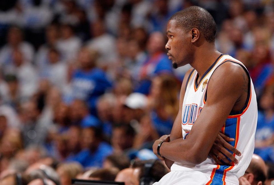 Photo -  Oklahoma City's Kevin Durant (35) waits to enter the game during Game 2 of the NBA Finals between the Oklahoma City Thunder and the Miami Heat at Chesapeake Energy Arena in Oklahoma City, Thursday, June 14, 2012. Photo by Sarah Phipps, The Oklahoman