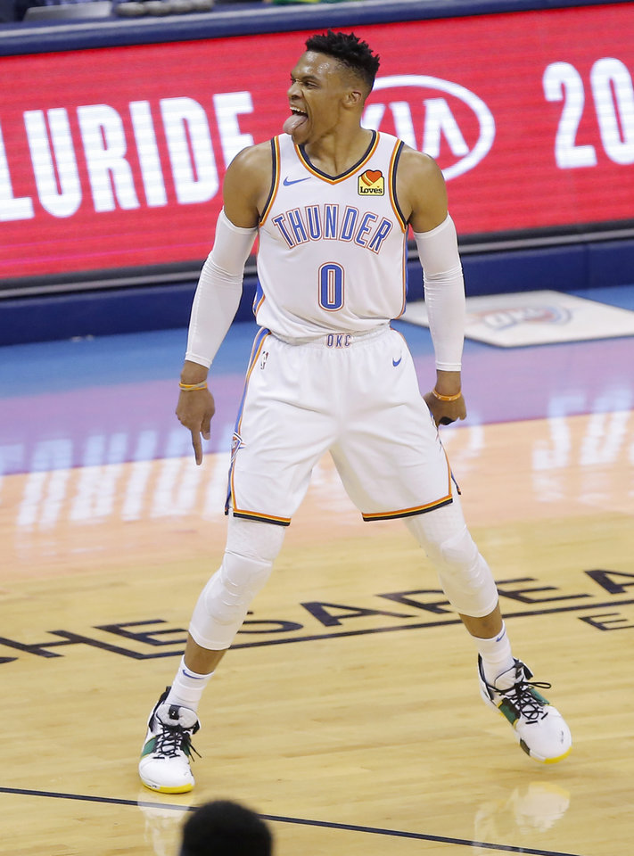 Photo - Oklahoma City's Russell Westbrook (0) celebrates during Game 4 in the first round of the NBA playoffs between the Portland Trail Blazers and the Oklahoma City Thunder at Chesapeake Energy Arena in Oklahoma City, Sunday, April 21, 2019. Photo by Bryan Terry, The Oklahoman
