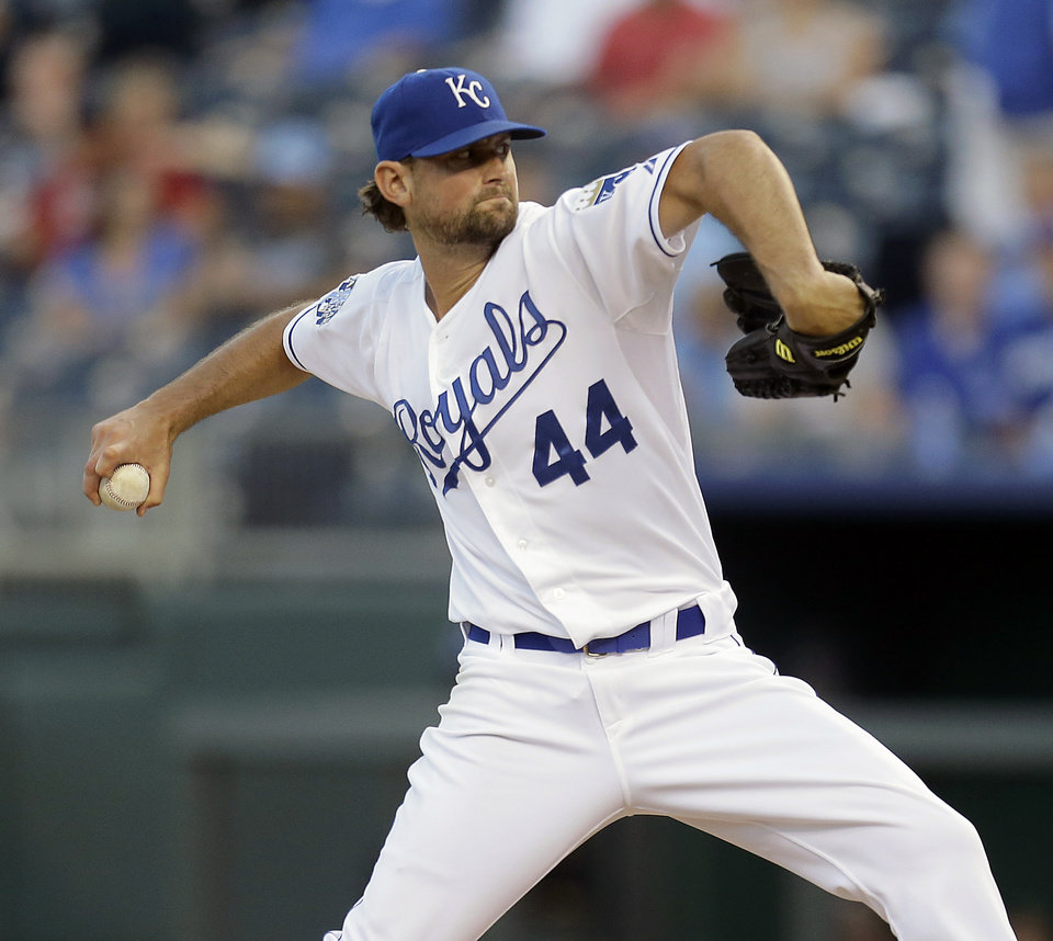 Photo -   Kansas City Royals starting pitcher Luke Hochevar throws during the first inning of a baseball game against the Texas Rangers, Thursday, Sept. 6, 2012, in Kansas City, Mo. (AP Photo/Charlie Riedel)