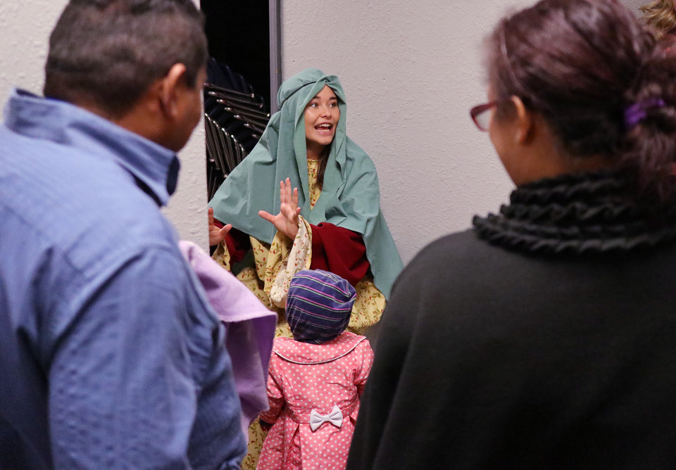 "Photo - Tori Kitchel portrays ""Mary"" during the Christmas in the Hood party at the Oklahoma City Dream Center, Saturday, December 14, 2019. [Photo by Doug Hoke/The Oklahoman]"