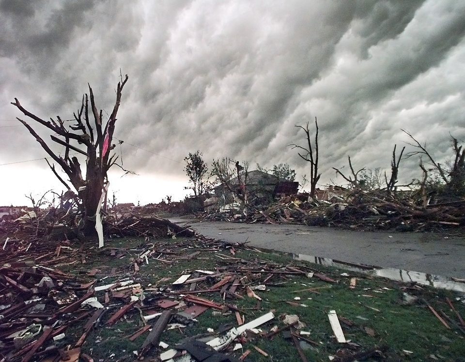 MAY 3, 1999 TORNADO: Tornado damage: Little is left of the homes that once lined Delia Street in Midwest City.