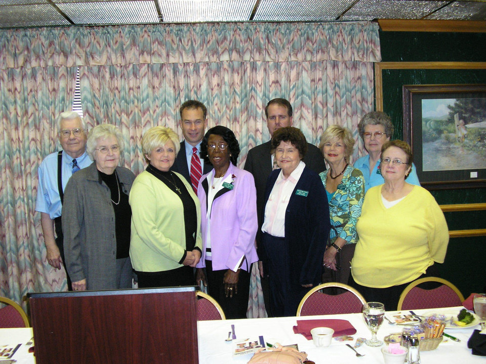 Photo Left to Right: Bill Dorough, Lois Coe, Dorothy Dennis, Senator Jim Reynolds, Julia Chaney, Patrick Gaines, Rubye Scull, Babs Gumerson, Carol Henry, Sarah Jones<br/><b>Community Photo By:</b> April Goode<br/><b>Submitted By:</b> April,
