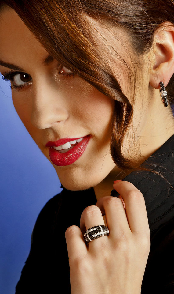 Black and white pave diamond hoop earrings and matching ring are sold at BC Clark Jewelers. Model is Alexandra. Makeup by Shellie Pickens for The Makeup Bar.   Photo by Chris Landsberger, The Oklahoman. <strong>CHRIS LANDSBERGER</strong>