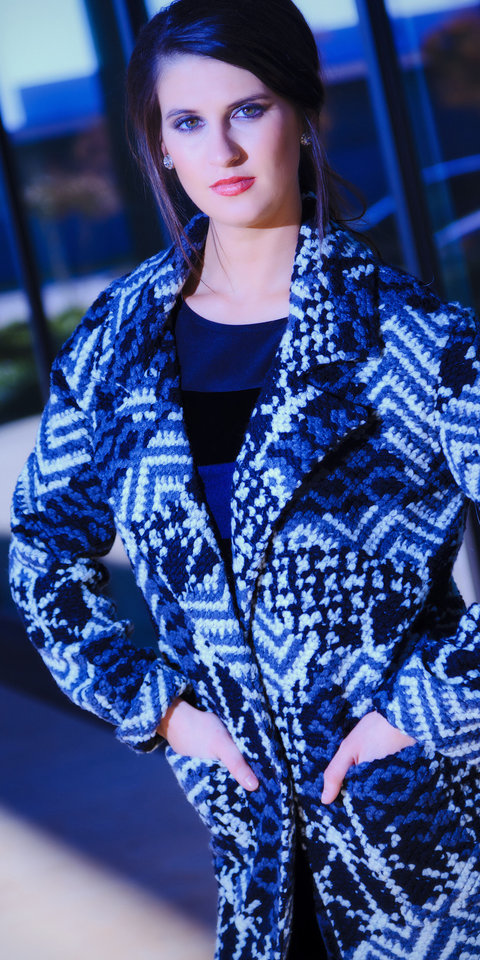 Photo - Sweater-style coat by SW3 with Rebecca Taylor banded velvet dress, available at On a Whim. Model is Allora. Makeup by Dakota Gwaltney, The MakeUp Bar. Photo by Chris Landsberger, The Oklahoman.     CHRIS LANDSBERGER
