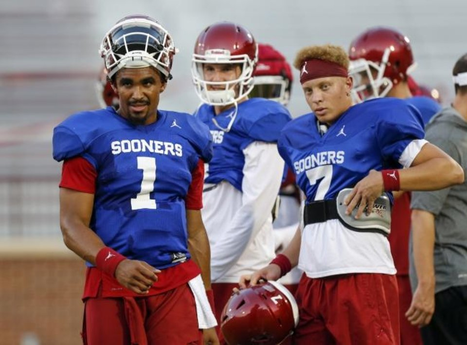Photo -  With Jalen Hurts (1) exhausting his eligibility after this season, former top recruit Spencer Rattler (7) could be in line to be the Sooners' starting quarterback in 2020. [Nate Billings/The Oklahoman]