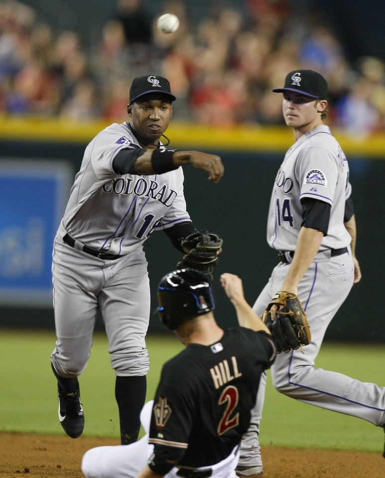 Colorado Rockies shortstop Jonathan Herrera (18), left, turns the double play while avoiding Arizona Diamondbacks second baseman Aaron Hill (2) in the first inning during a baseball game on Saturday, July 6, 2013, in Phoenix. (AP Photo/Rick Scuteri)