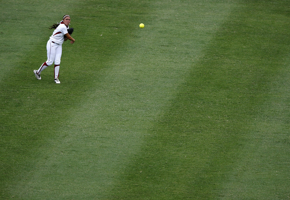 Oklahoma's Destinee Martinez (00) throws a ball from center field during a Women's College World Series game between Oklahoma University and Arizona State University at ASA Hall of Fame Stadium in Oklahoma City, Sunday, June 3, 2012.  Photo by Garett Fisbeck, The Oklahoman