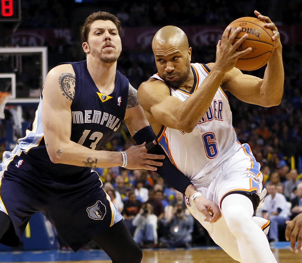 Photo - Oklahoma City's Derek Fisher (6) drives against Memphis' Mike Miller (13) during an NBA basketball game between the Memphis Grizzlies and the Oklahoma City Thunder at Chesapeake Energy Arena in Oklahoma City, Friday, Feb. 28, 2014. Photo by Nate Billings, The Oklahoman