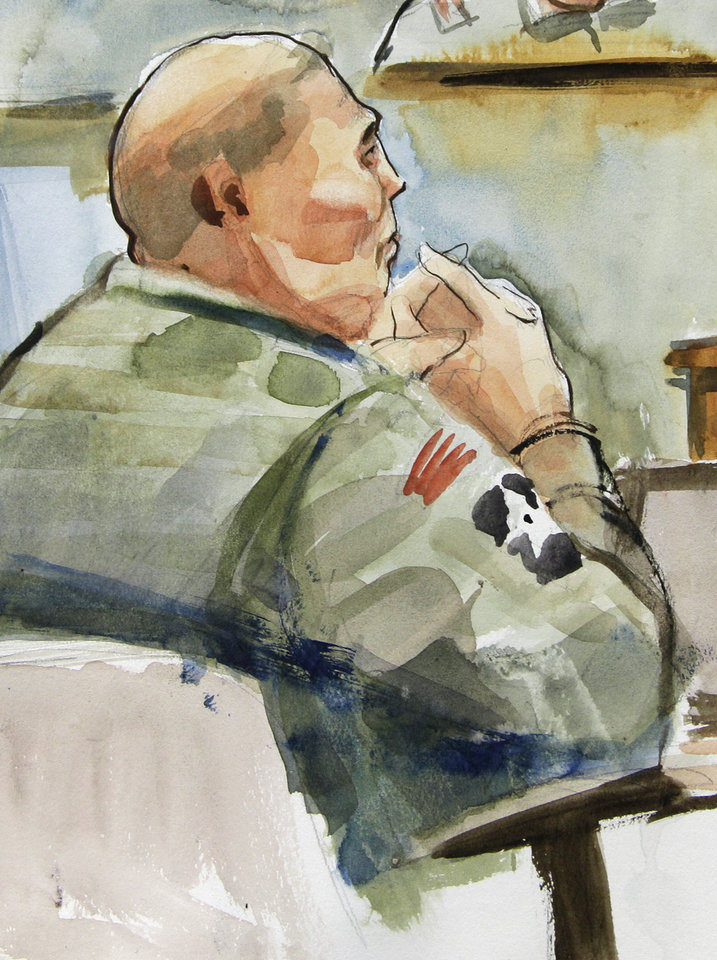Photo -   In this detail from a courtroom sketch, U.S. Army Staff Sgt. Robert Bales, is shown, Tuesday, Nov. 13, 2012 on the final day of a his preliminary hearing at Joint Base Lewis McChord in Washington state. Bales is accused of 16 counts of premeditated murder and six counts of attempted murder for a pre-dawn attack on two villages in Kandahar Province in Afghanistan in March, 2012. (AP Photo/Lois Silver)