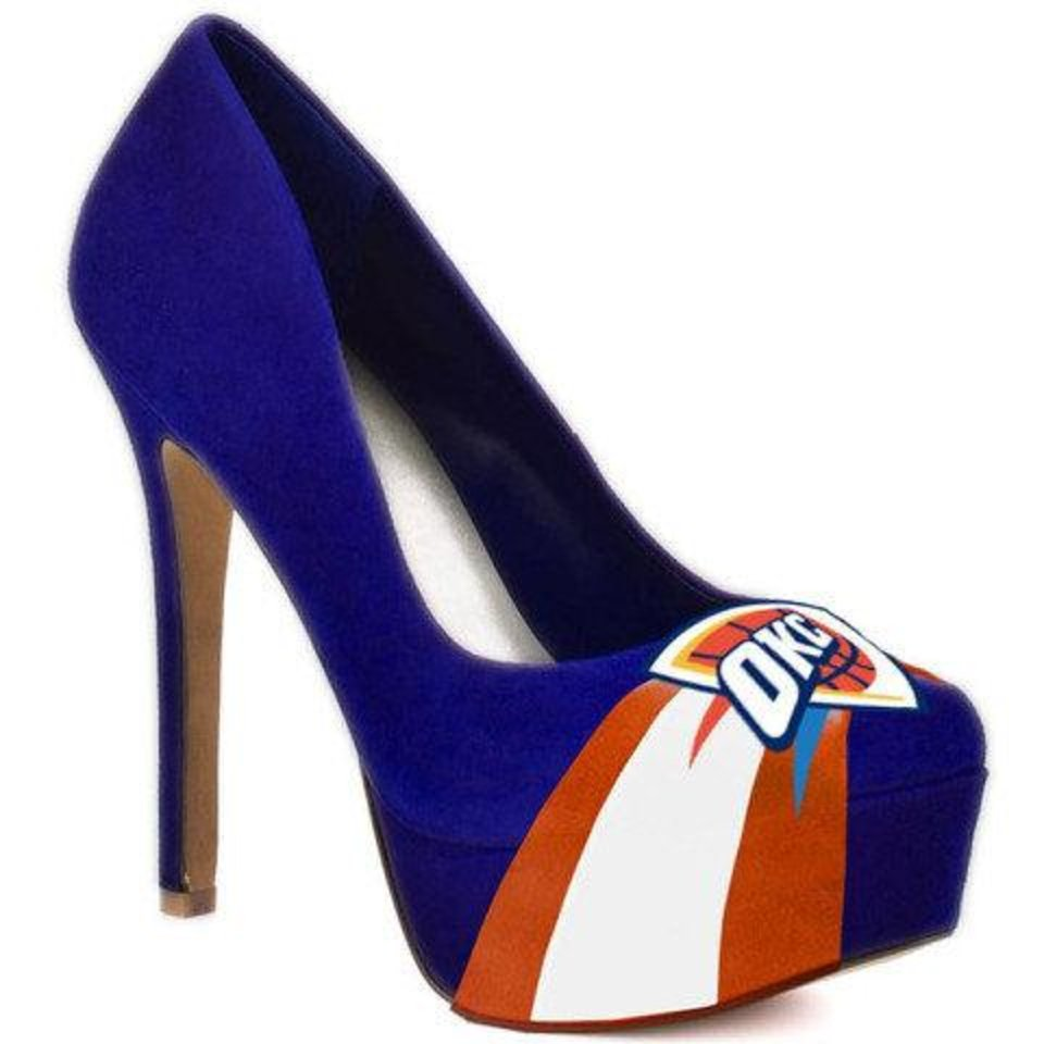 The women\'s suede microsuede pumps have a 4.5-inch heel and feature the OKC Thunder logo. They retail for about $100 from Herstar. PHOTO PROVIDED.