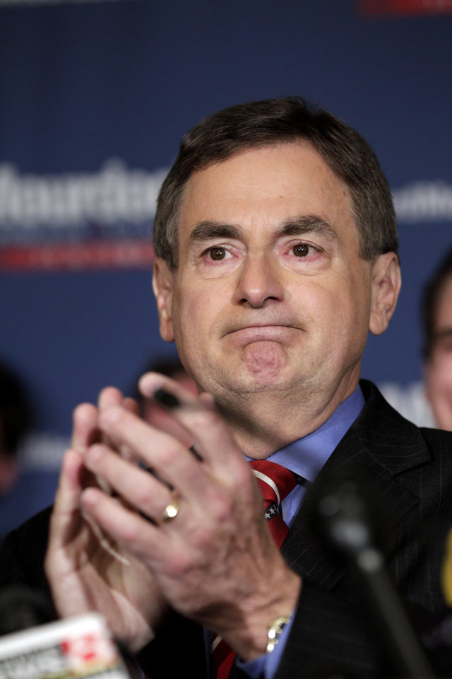 Photo -   Indiana Treasurer Richard Mourdock speaks to supporters in Indianapolis, Tuesday, May 8, 2012, after he defeated incumbent Sen. Richard Lugar, R-Ind., in the primary. (AP Photo/AJ Mast)
