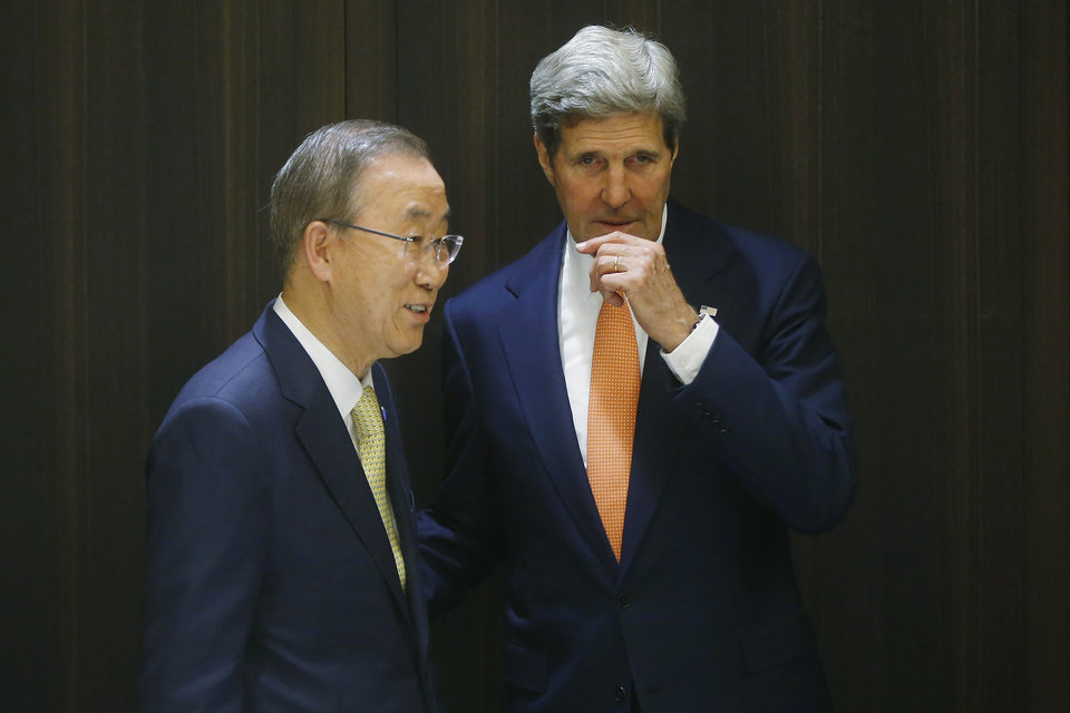 Photo - U.S. Secretary of State John Kerry meets with U.N. Secretary-General Ban Ki-moon in Jerusalem, Wednesday, July 23, 2014. Kerry is meeting with Ban, Israeli Prime Minister Benjamin Netanyahu, and Palestinian Authority President Mahmoud Abbas as efforts for a cease-fire between Hamas and Israel continues. (AP Photo/Pool)