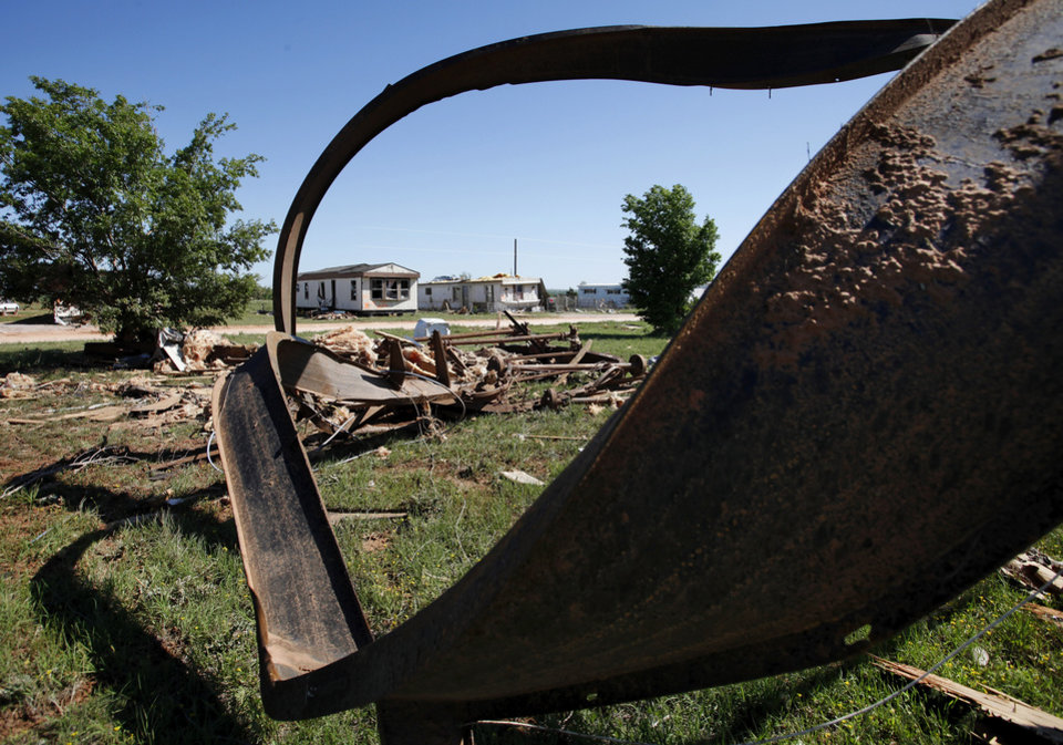 Nine trailers were destroyed  and many others received major damage in the Hide-A-Way Mobile Home Park when a  killer tornado roared through sections of Woodward last weekend.   Two men and two girls died in the twister.  Photo taken Tuesday, April 17, 2012.   Photo by Jim Beckel, The Oklahoman