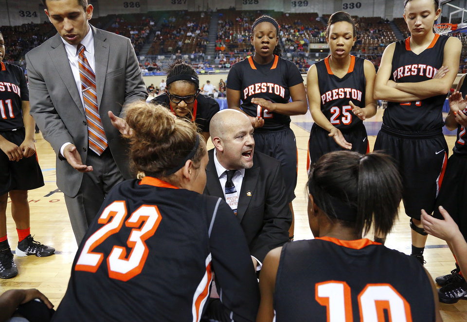 Photo - Preston basketball coach Jeff Weedn talks to his players during a timeout in the Class 2A Girls State Championship game between Preston and Cordell at Jim Norick Arena at State Fair Park  on Saturday, Mar. 15, 2014.  Preston won,  45-41. Photo by Jim Beckel, The Oklahoman