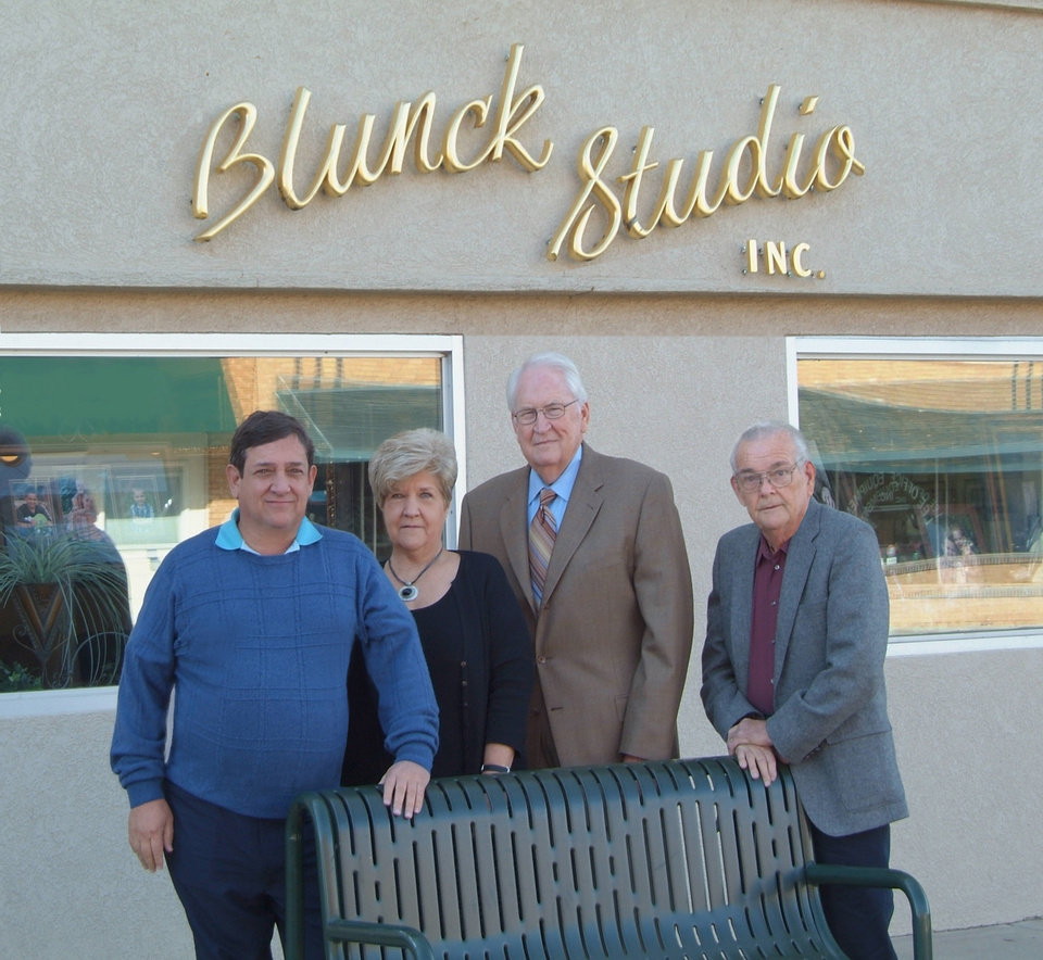 Photo - BLUNCK PHOTOGRAPHY / THERON BLUNCK / BLUNCK'S PHOTOGRAPHY: From left are Denny Flick (president of CDF labs, vice president of Blunck Studios); Oleta Camden (president of Blunck Studios); Bob Goss (vice president of sales of Blunck Studios); and Theron