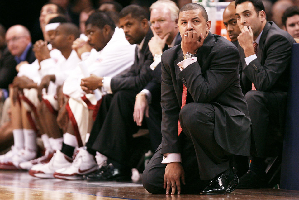 Photo - Oklahoma coach Jeff Capel reacts during the Sooners' loss to UTEP at the All-College Classic on Monday. Capel said his team won't practice again until the day after Christmas and he's not sure if the time off is good.  Photo by Chris Landsberger, The Oklahoman