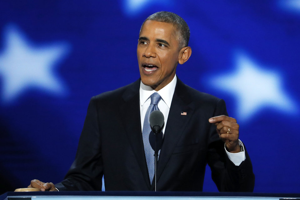 Photo - President Barack Obama speaks during the third day of the Democratic National Convention in Philadelphia , Wednesday, July 27, 2016. (AP Photo/J. Scott Applewhite)