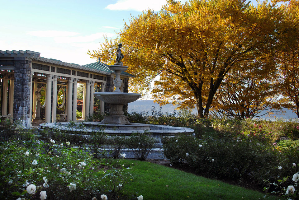 Photo - This undated image provided by Kykuit, the Rockefeller Estate in Sleepy Hollow, N.Y., shows the estate's rose garden during autumn. Several generations of Rockefellers lived in the 40-room mansion and grounds at Kykuit, beginning with John D. Rockefeller, co-founder of Standard Oil and America's first billionaire. Tours offer a glimpse of the family's wealth and trappings, and autumn is a nice time to visit the estate in the Hudson Valley region just north of New York City, with views of the Hudson River.  (AP Photo/Kykuit, Bryan Haeffele)